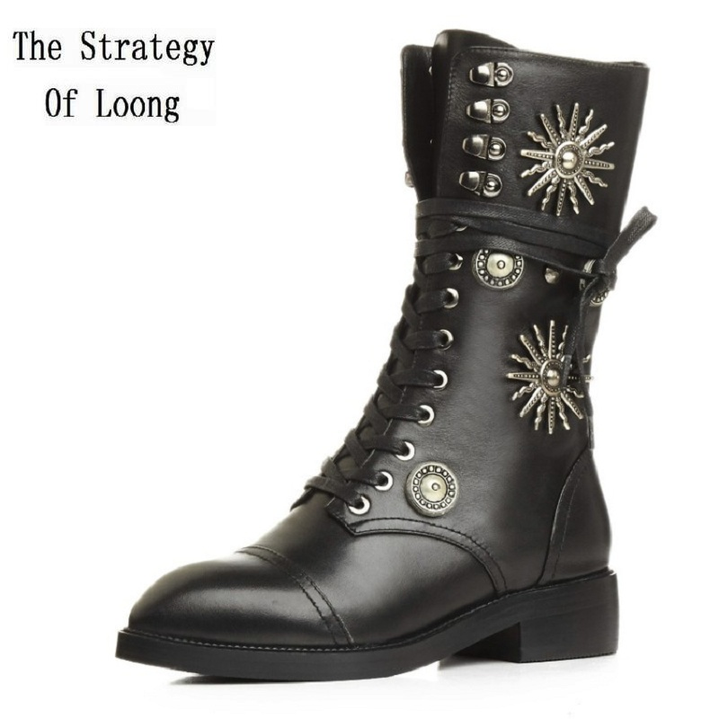 Women Winter Lace Up Full Grain Leather Short Plush  Rivets Half Boots Genuine Leather Thick Warm 2017 New Arrival Boots elevator funky full grain genuine leather rub skin color korean new arrival thread bandage round toe safety boots thick soled