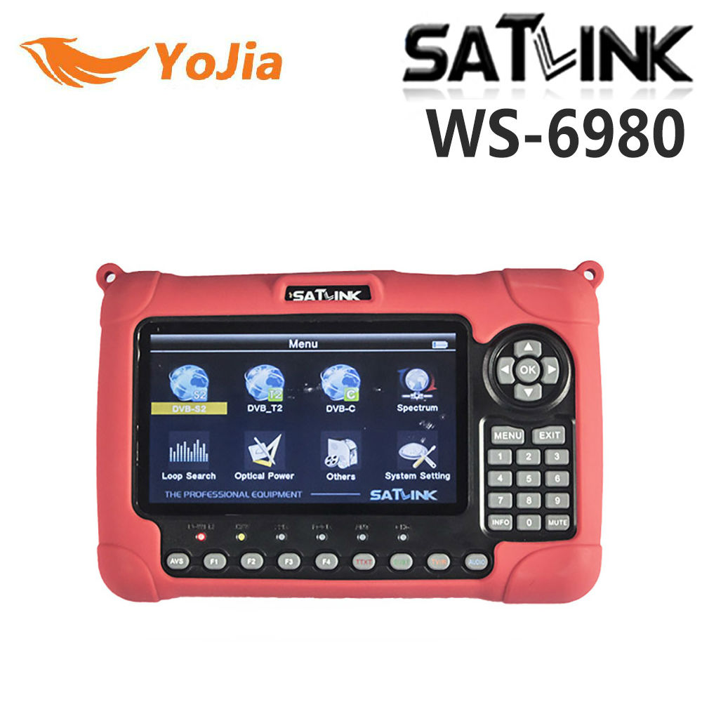 Yojia Satlink WS-6980 DVB-S2 DVB-T/T2 DVB-C Combo Digital Satellite Meter Finder 7 inch HD LCD Spectrum Analyzer constellation satlink ws 6979se satellite finder meter 4 3 inch display screen dvb s s2 dvb t2 mpeg4 hd combo ws6979 with big black bag
