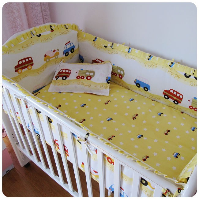 Promotion! 6PCS Car Excellent Quality Bedding Set for Babies,Lovely Design Baby Cot Set(bumper+sheet+pillow cover) бампер excellent car 13 14 rav4 4s