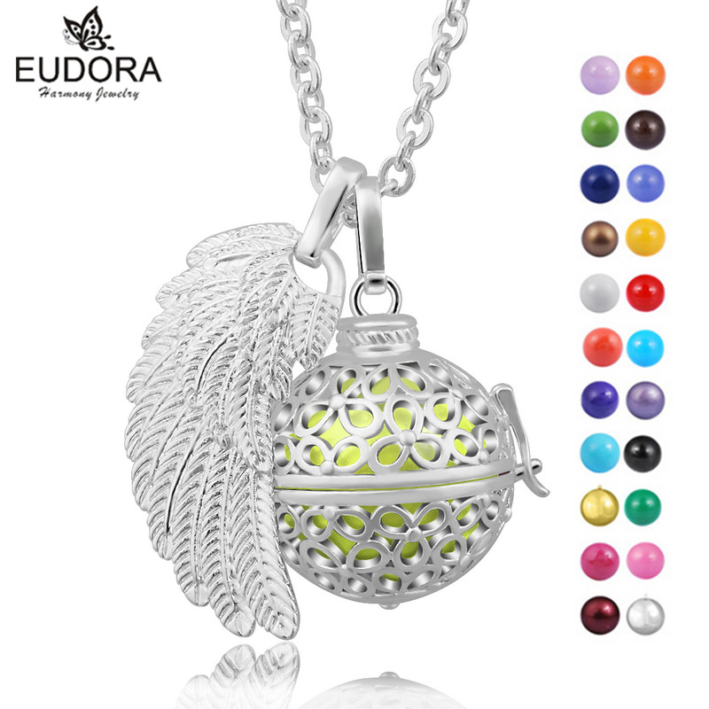 Eudora Angel Wing Harmony Charm Pendant Locket Cage With Angel Caller Chime Ball Floating Locket Pregnancy Women Baby Jewelry 10pcs triangle magnet floating locket pendant living glass floating charm locket pendant for women necklace