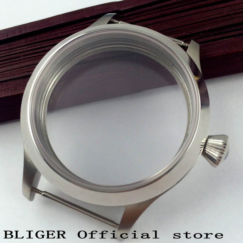 Full Stainless Steel 45MM BLIGER Watch Case Onion Crown Sapphire Glass Fit 6497 6498 Hand-Winding Movement Men's Watch Case C30 46mm matte silver gray stainless steel watch case fit 6498 6497 movement watch part case with mineral crystal glass
