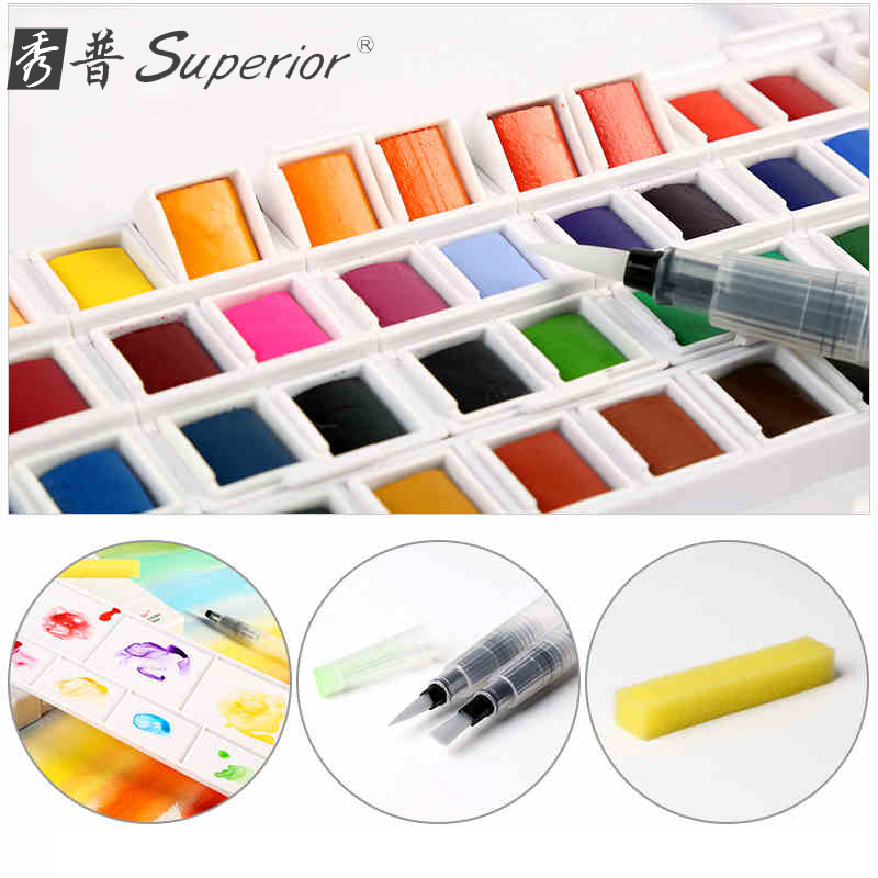 Superior Watercolor Paint With Paintbrush 12/18/24/30/36/40/48 Colors For Color Paints Drawing Paint Watercolors Art Supplies