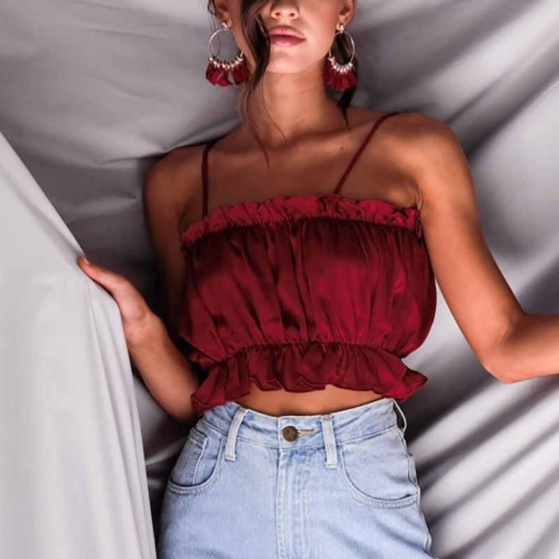 Strap Wild Vest Sexy Pleated Tube Top Fashion Wild Short Woman Solid Clothes