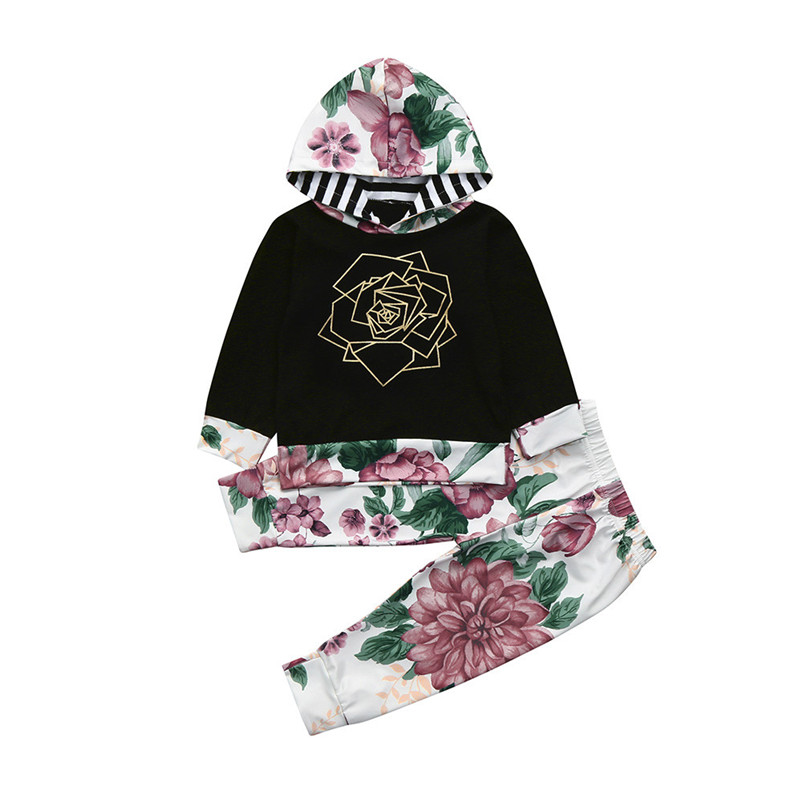 2018 NEW Spring fashion 2pcs Toddler Baby Boys Girls Clothes Set Floral Print Hoodie Tops+Pants Outfits Children Clothing p5