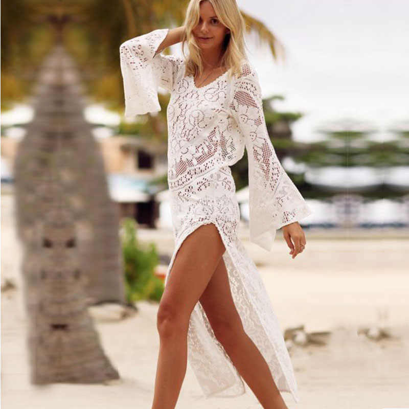 79a34b1ea0e Boho Dresses For Women Plus Size White Lace Dress Long Sleeves Korean Split  Backless Dress Summer