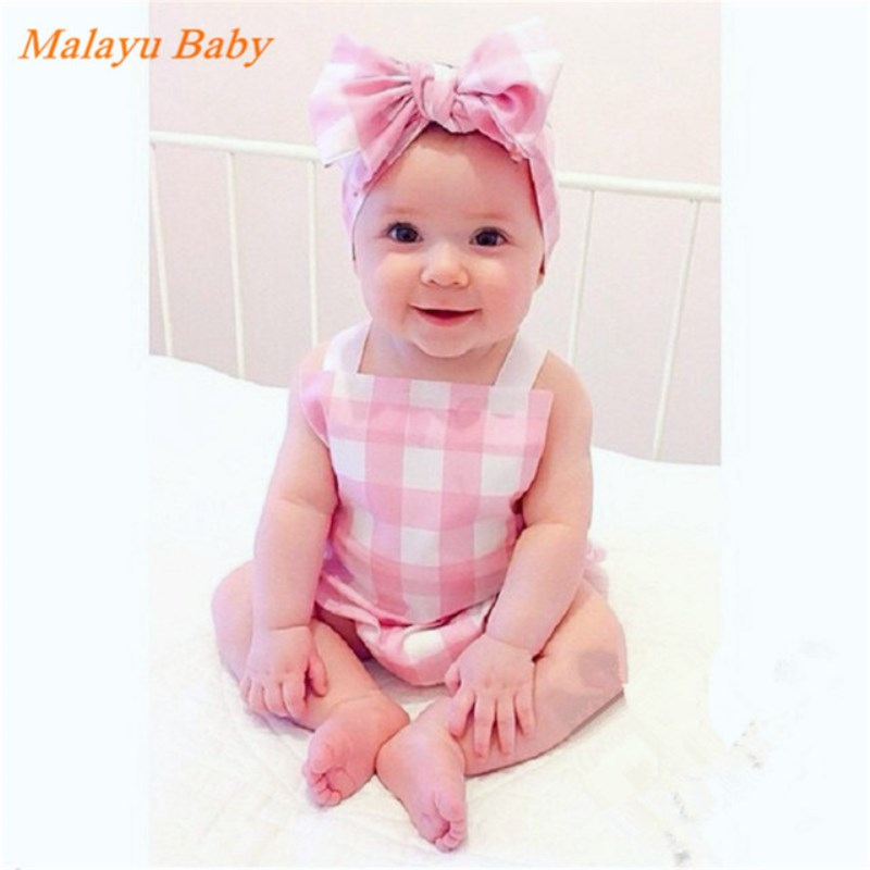 Infant And Children's Jumpsuit Summer New Baby Baby Checkered Sling Romper + Hair With Two Sets 0-2 Years Old Black / Pink
