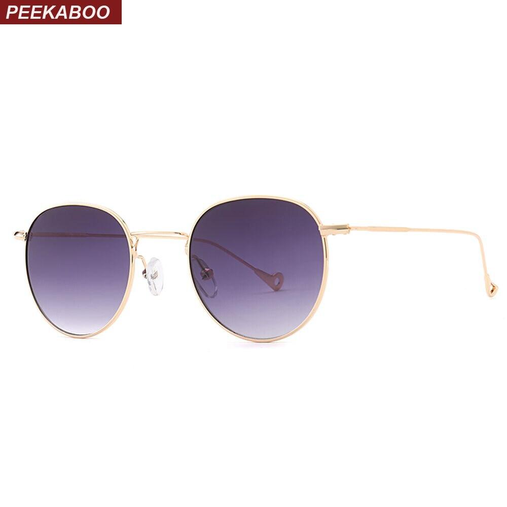 Peekaboo azul tintado gafas de sol hombres verde metal amarillo claro gafas de sol para las mujeres oro marco uv400