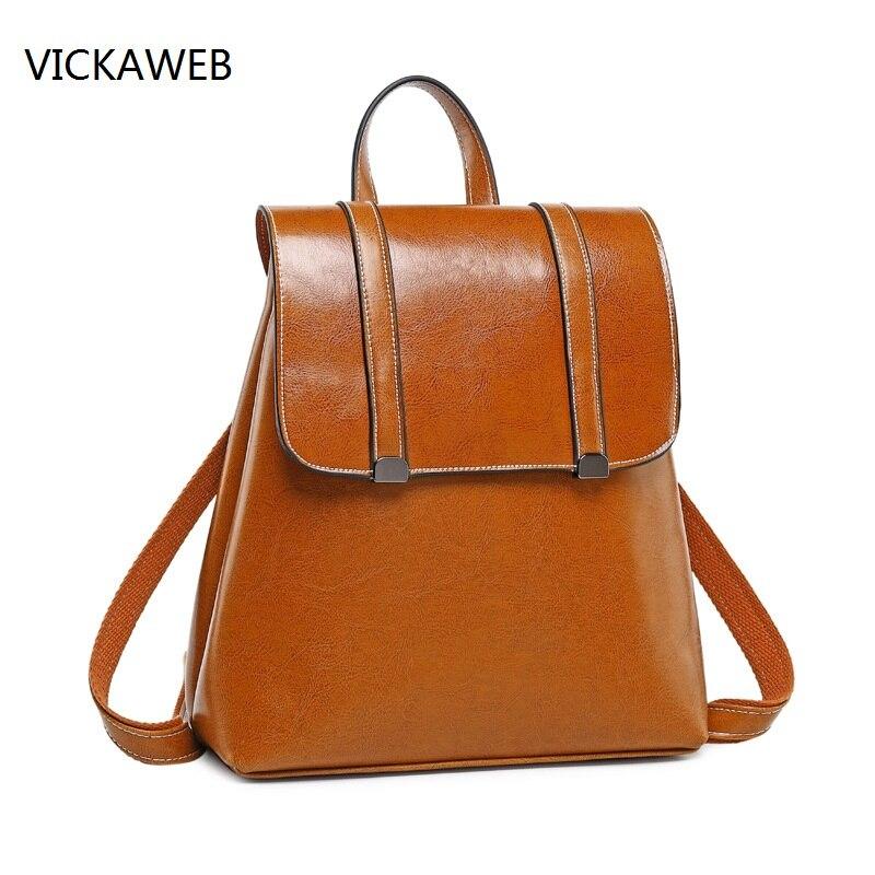 luxury brand backpack women genuine leather school bags for teenage girls vintage waterproof leather bagpack