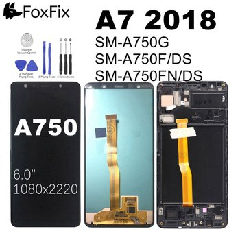 AMOLED Screen For SAMSUNG A7 2018 LCD Display Touch Screen Digitizer For SAMSUNG GALAXY A750 A750F A750G LCD Screen With Frame