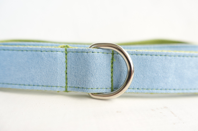 MUTTCO retailing self-designed accessory BLUE COVER GREEN handmade wathet blue and green dog collars and leashes5 sizes UDC033