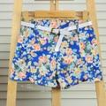 New Retro Floral Print Shorts High Elastic Waist Large Shorts Slit Side Women Girl Shorts 3042