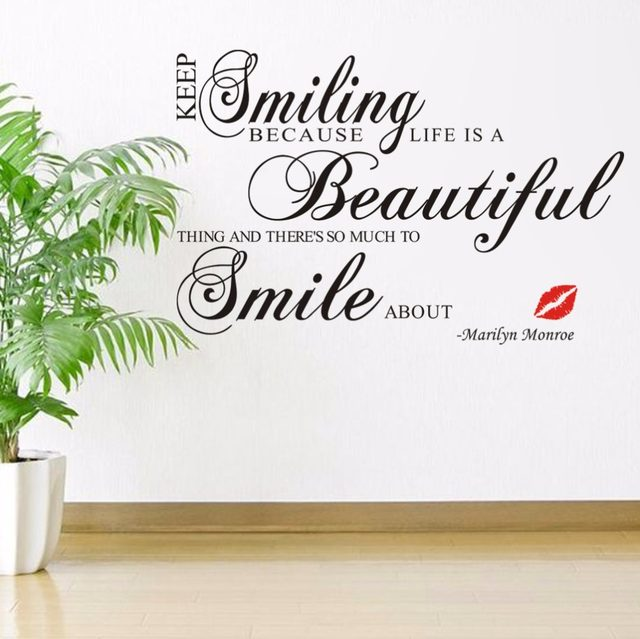 Hot Sale 2016 Keep Smiling Vinyl Wall Art Decals Quotes Saying Home Decor Christmas  Wall Stickers