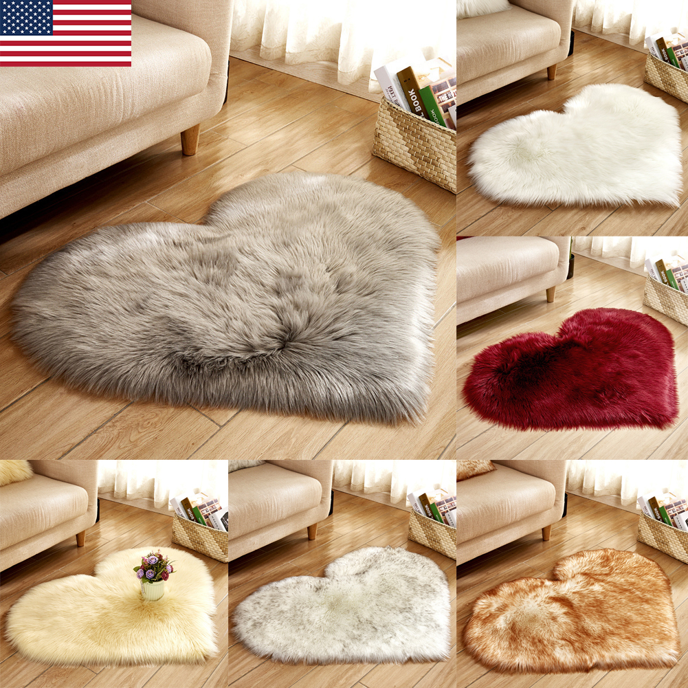 White Soft Indoor Smooth Faux Fur Small Rugs Anti-Skid Shaggy Area Rug Mat