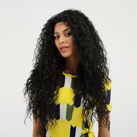 Element 26 Inch Lace Front Wig Long Hair Wig Afro Kinky Curly Black Wigs Kanekalon 130