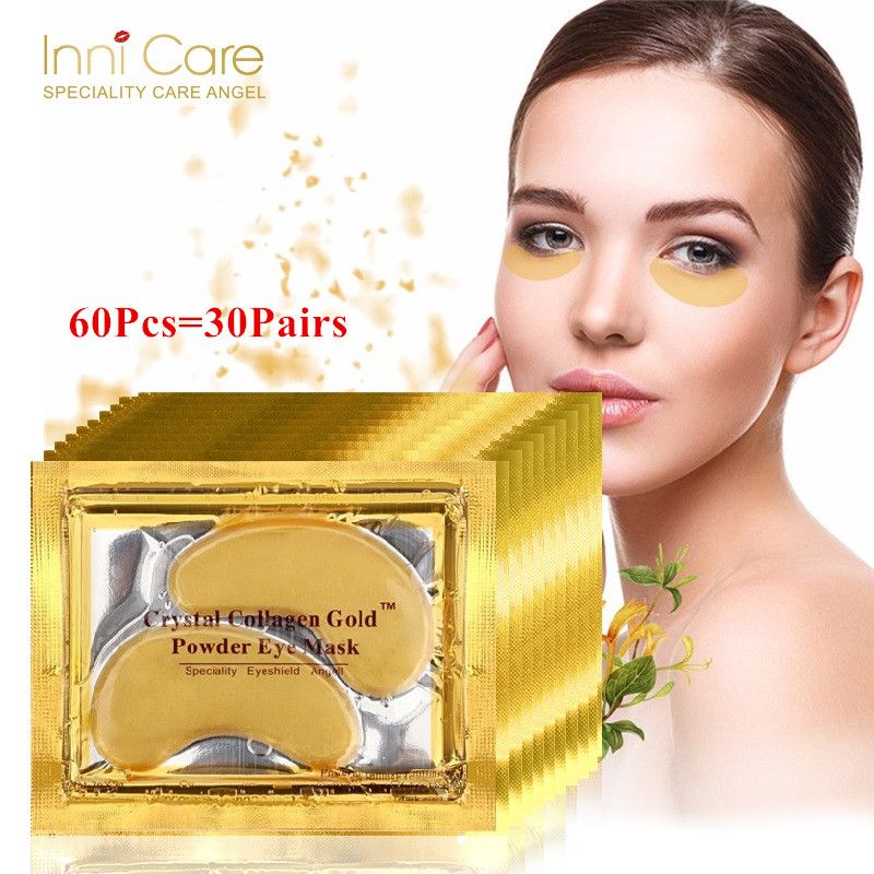 60Pcs Beauty Korean Cosmetics 24K Gold Crystal Collagen Eye Mask Eye Patches Anti Aging Acne Moisture Patches For Eye Skin Care transdermal patches
