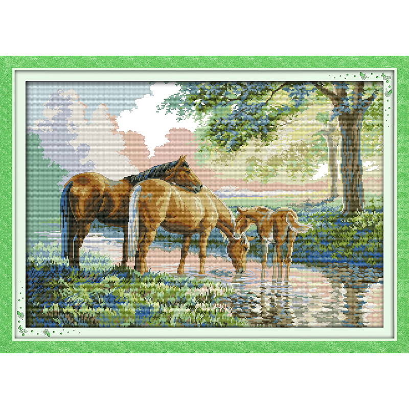 Everlasting love Christmas Horse family Chinese cross stitch kits Ecological cotton stamped 11CT 14CT New store sales promotion
