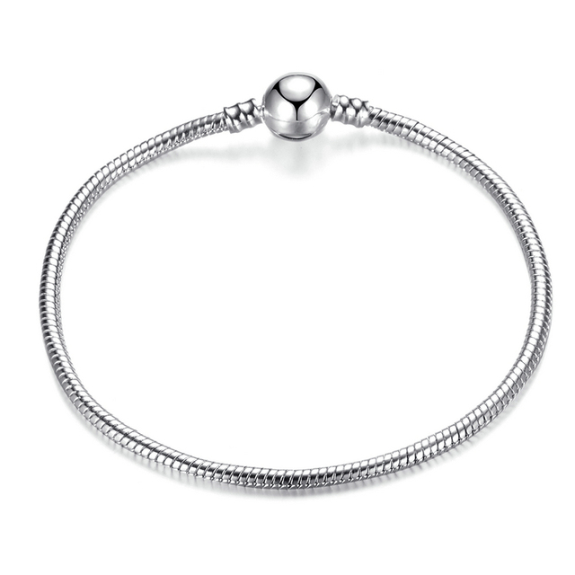 High Quality 17-21cm Silver Snake Chain Link Bracelet Fit
