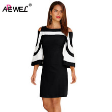 ADEWEL 2019 Autumn Color Block Cold Shoulder Elegant Women Dresses Sexy Bodycon Three Quarter Wide Sleeve Mini Party