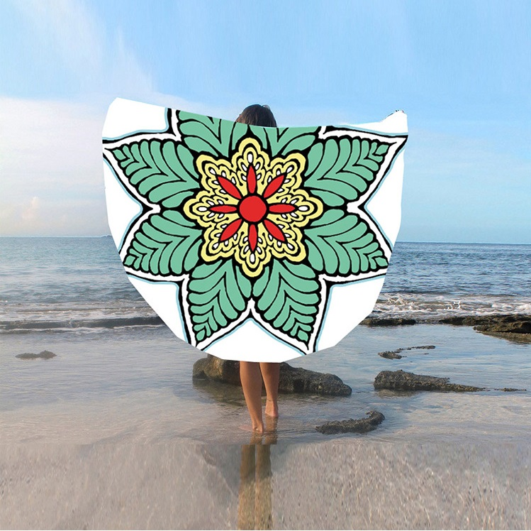 Spot European And American New Round Beach Towel Sunscreen Digital Printed Beach Towel St06-2