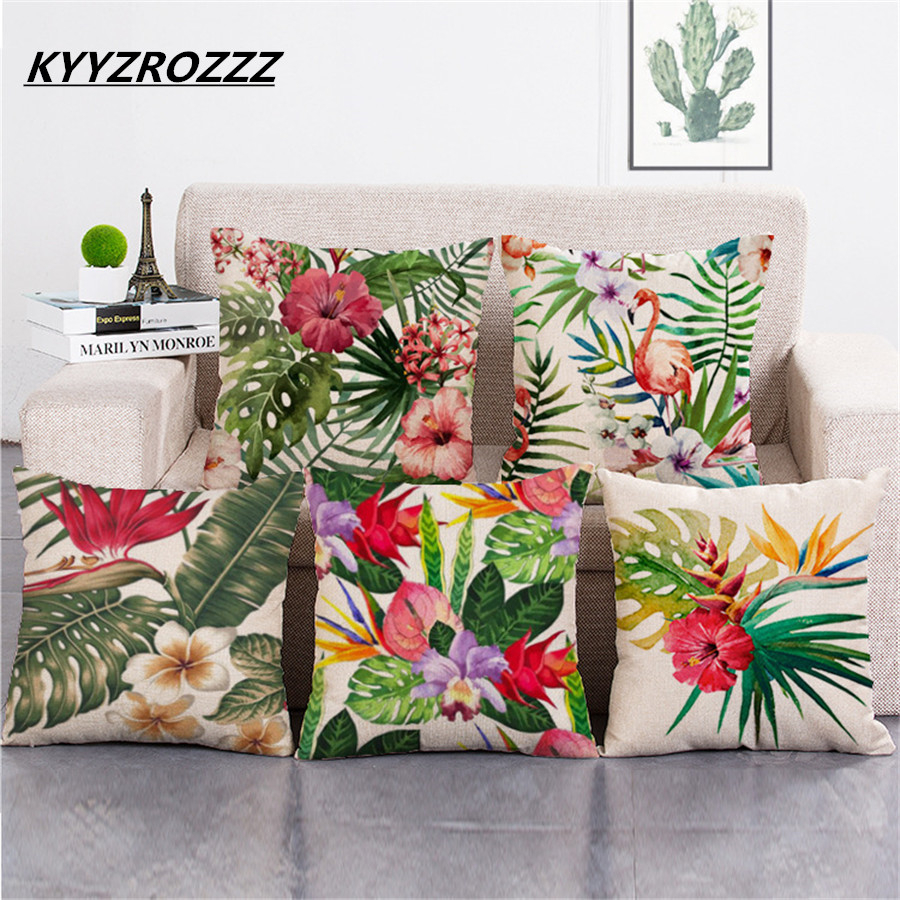 Rainforest Leaves Afrika Cotton Linen Tropiske Planter Hibiscus - Hjem tekstil