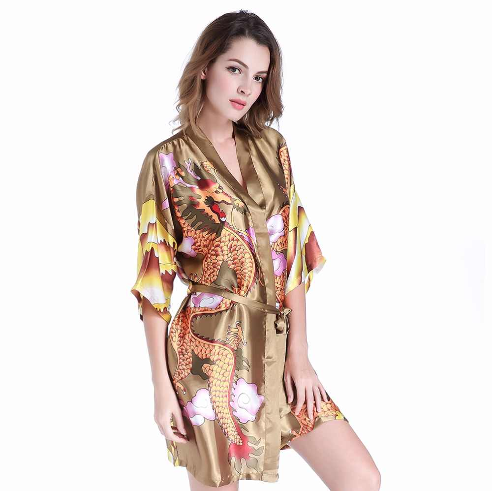 9f3b3d1fba Chinese Style Vintage Bridesmaid Bride Wedding Robe Dressing Gown Sexy  Novelty Dragon Kimono Bathrobe Women Satin