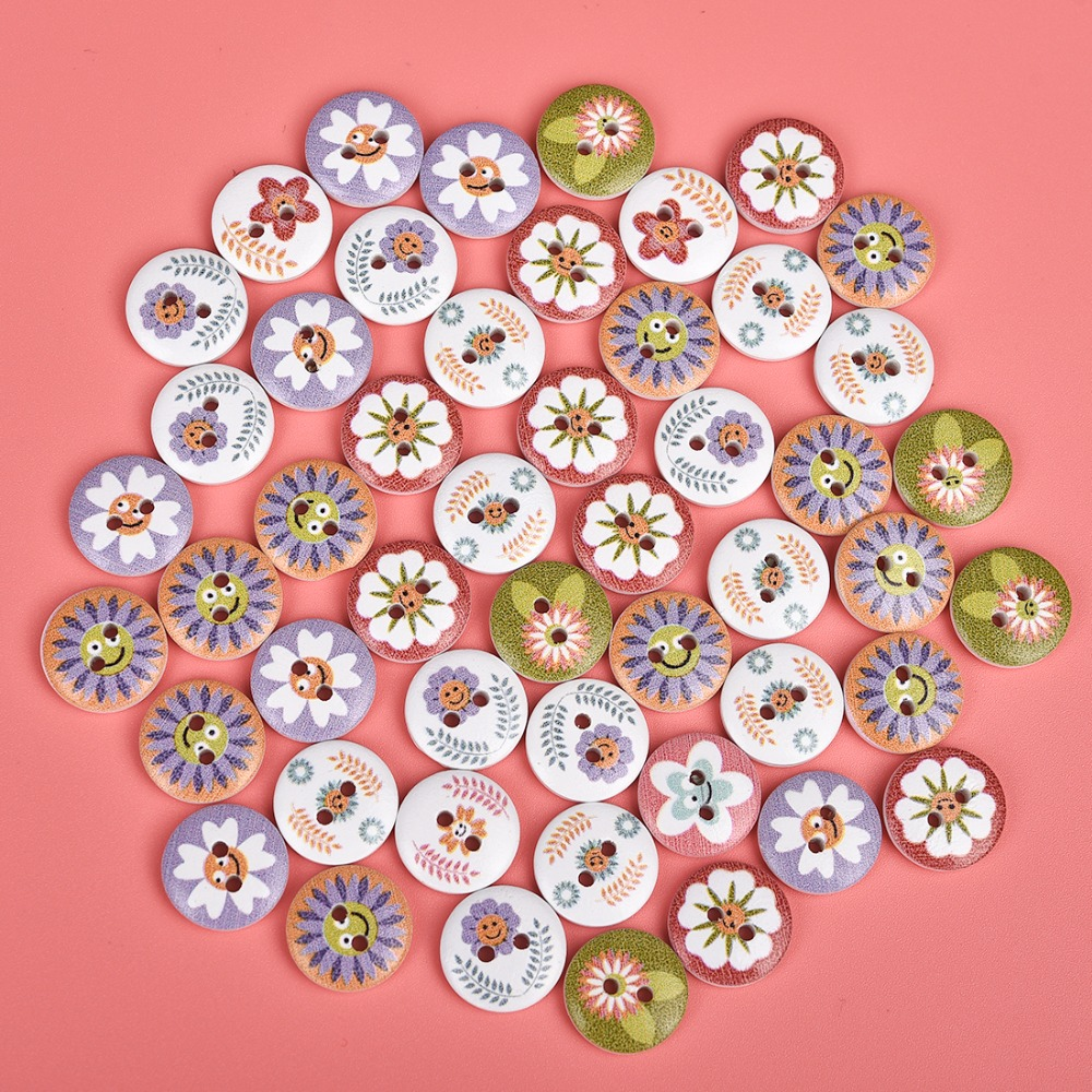 50 Round Pretty buttons floral