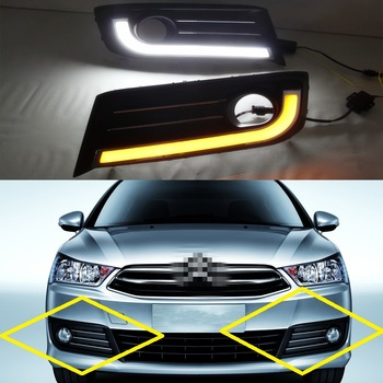 1 Set fog lamp cover with daytime running light DRL with turn lamp for Citroen C-Quatre C4 2012-2014
