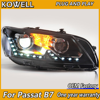 KOWELL Car Styling for VW Volkswagen Passat B7 Headlight 2011-2015 Headlights LED Headlamp Bi Xenon High Low Beam DRL Head Lamp