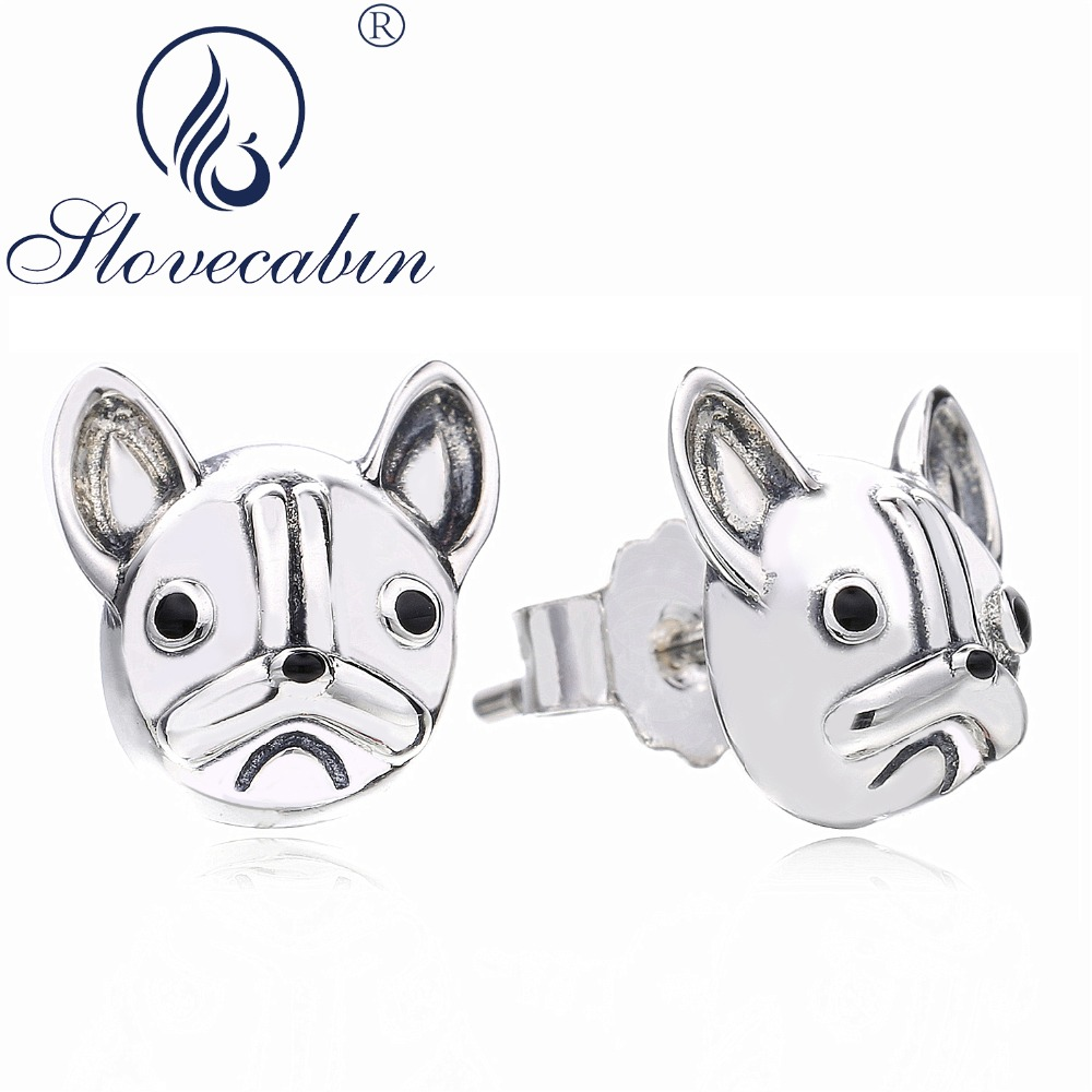 Slovecabin Authentic 925 Sterling Silver French Bulldog Dog Animals Earrings For Women Wedding Earrings Fashion Jewelry Make Up
