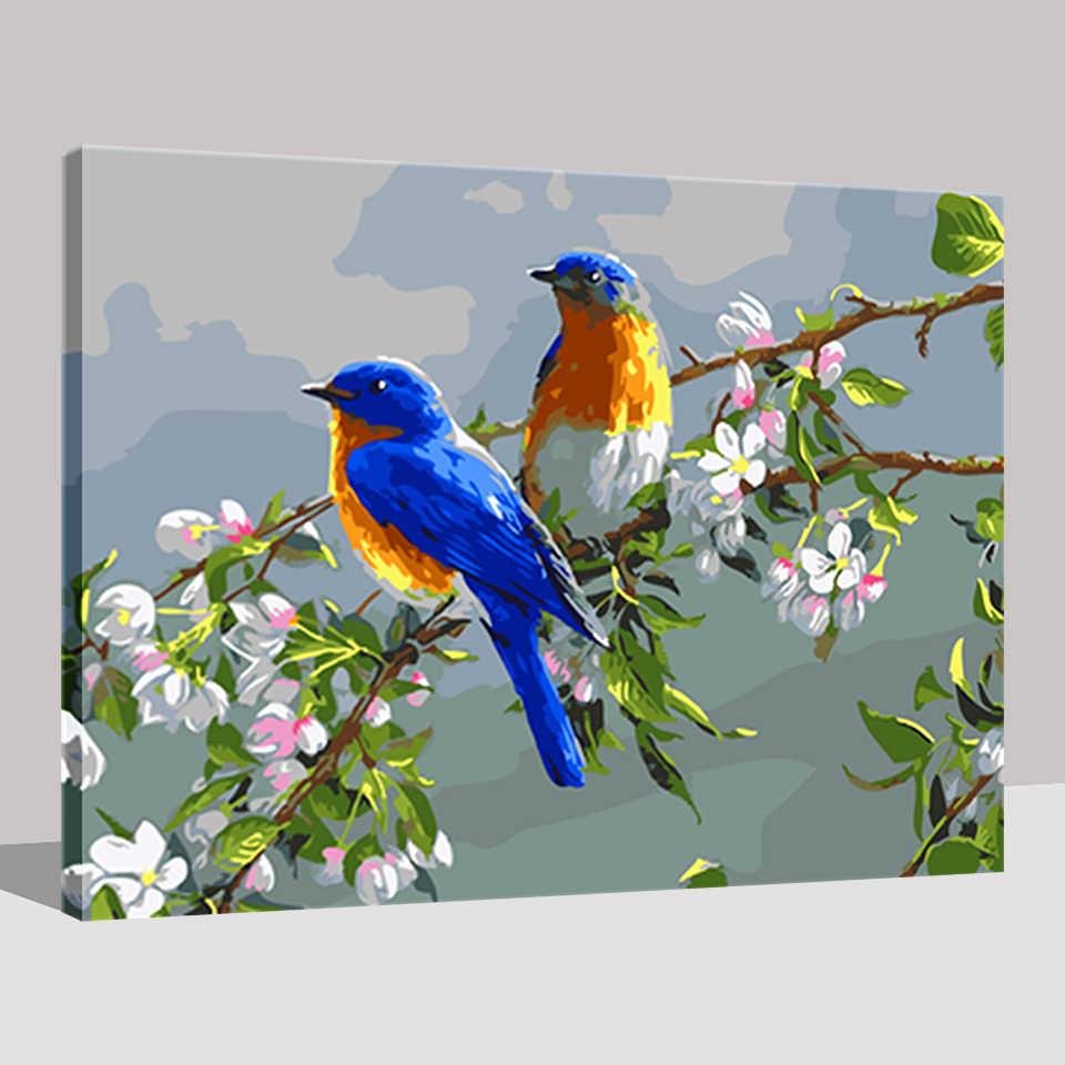 DIY Lukisan Dengan Nomor Kit Mewarnai Cat Kerangka Bagus Burung Dan Bunga Pohon Modular Rumah Dekoratif Dinding Bunga Art Gambar