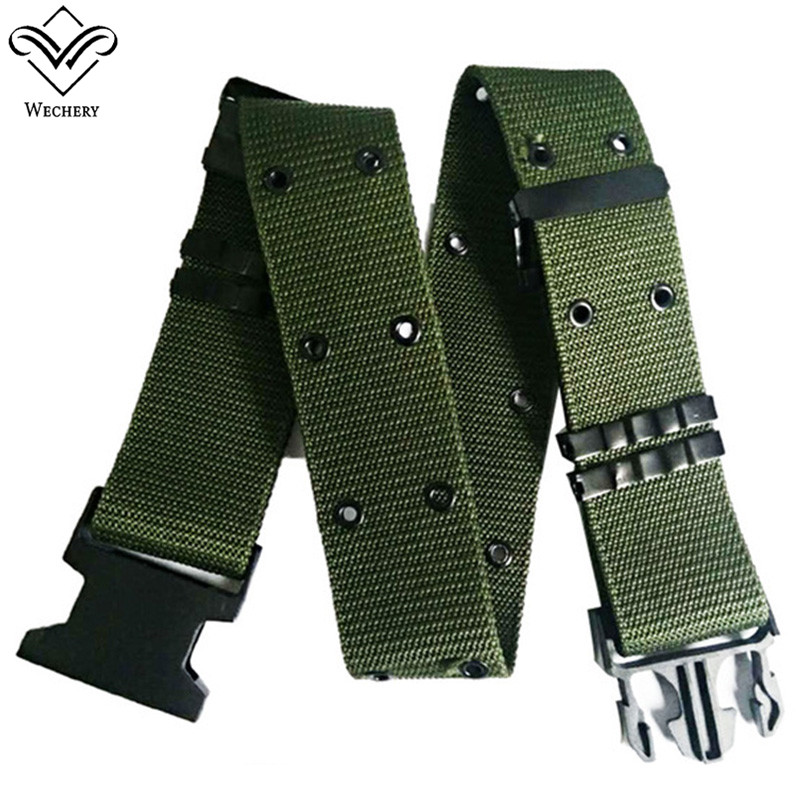 Wechery Outdoor Military Belts Mens Combat Canvas Nylon Tactical Automatic Buckles Army Waistbelt Men's Training Swat Wasitband