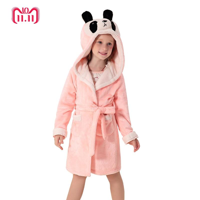 kids bathrobe 2018 girl bath robe girls nightwear cartoon animal children sleepwear soft flannel warm winter hooded стоимость