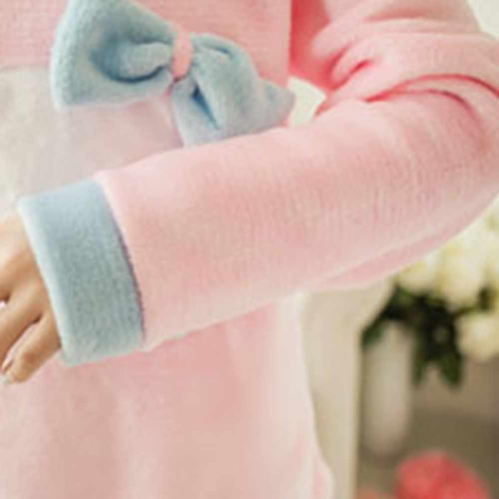 Mulheres Gato Bonito Olá Kitty Rosa Coral Pijama De Veludo Set 2018 Inverno Grosso Macio Casa Sleepwear Pijama Quente Da Moda Japonesa terno