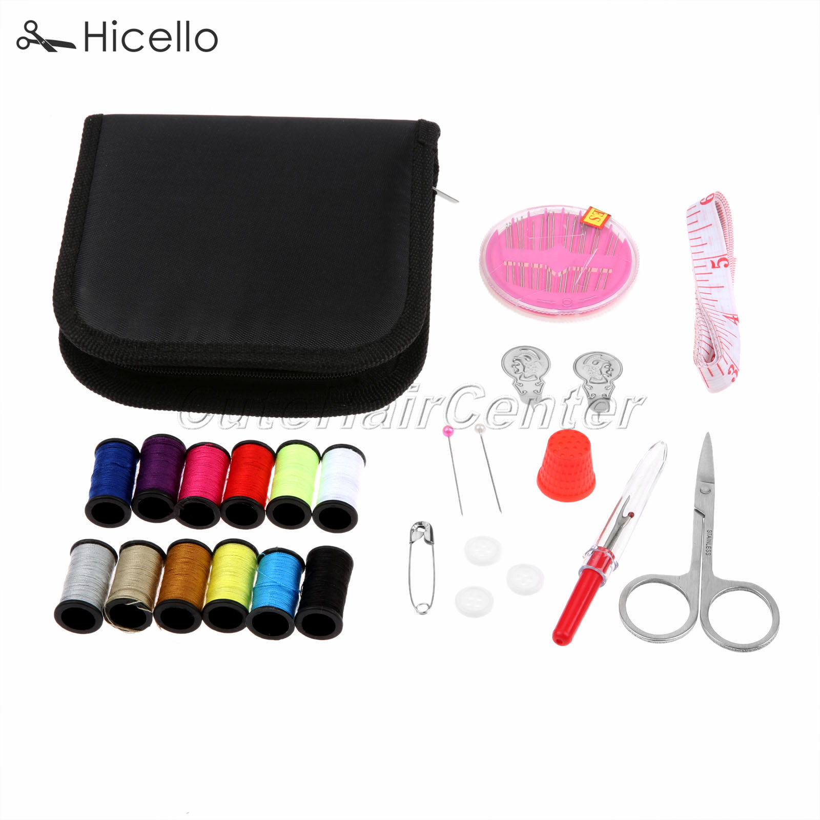 Sewing Kits with bag threads needles scissor pin ruler tool box Portable travelling Sewing set Household tool Gift Hicello