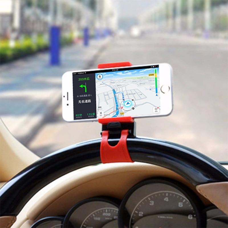 Universal Car Phone Holder Steering Wheel GPS Stand Smart Phone Clamp Bracket for IPhone Samsung XiaoMi HuaWei steering wheel phone holder