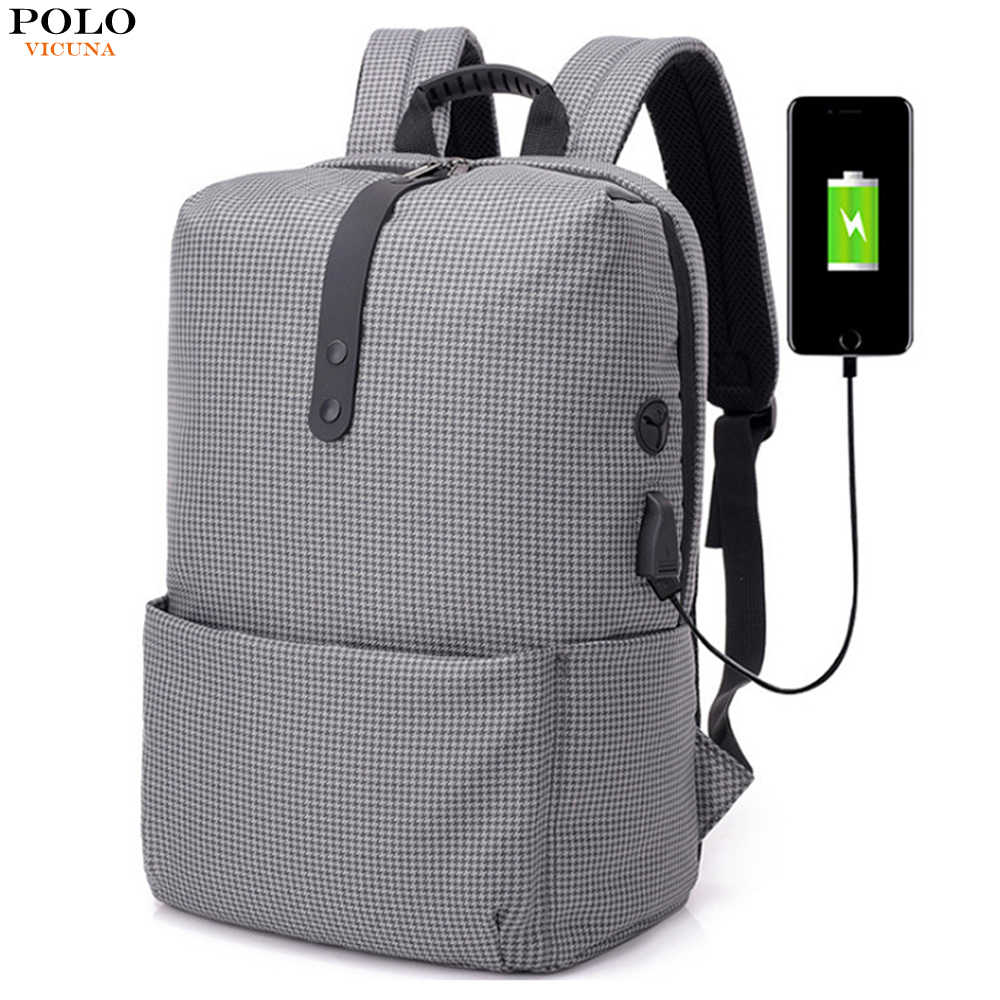 b15d0a32869 Men Black Backpack Multifunction USB Charging Plaid Bag Preppy Style 15.6  inch Laptop Backpacks Teenager Fashion
