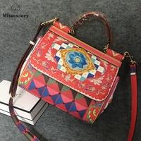 Misanwiney Luxury Italy Brand Sicily Ethnic Floral Bag Genuine Leather Casual Tote Platinum Bag Lady Shoulder Messenger Bag