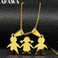 2019 familie 2 Junge 1 Mädchen Edelstahl Kette Halsketten für Frauen Gold Farbe Erklärung Halskette Schmuck collares mujer N18786
