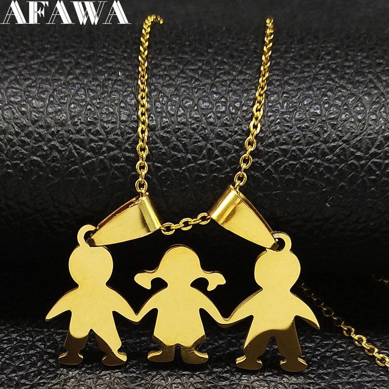 Menino menina de aço inoxidável corrente colares para as mulheres ouro cor colar colar colar colar jóias colares mujer presente do dia das mães n18786