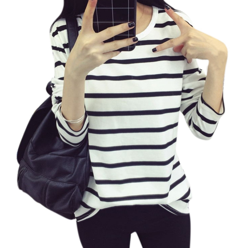 Autumn Ladies Sweatshirt Casual Shirt Striped Hoodie Navy Black White Striped Thin Bottom T-shirt