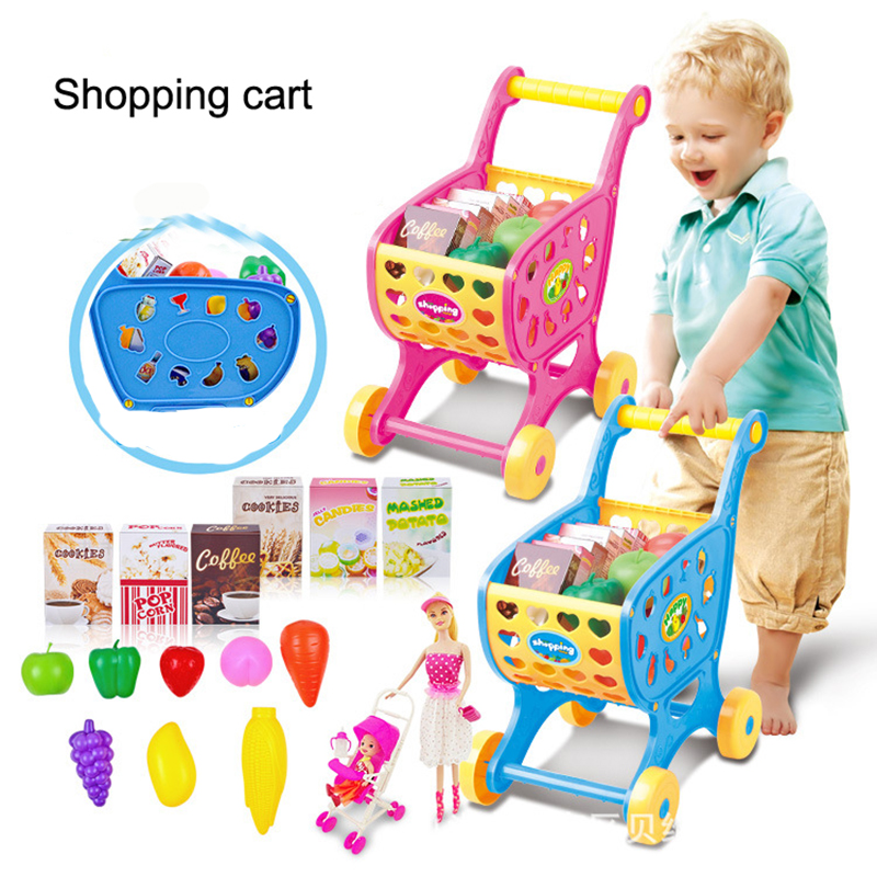 Pretend play house toy supermarket shopping cart trolleys toys children's toy car Classical toy Simulation fruits and vegetables