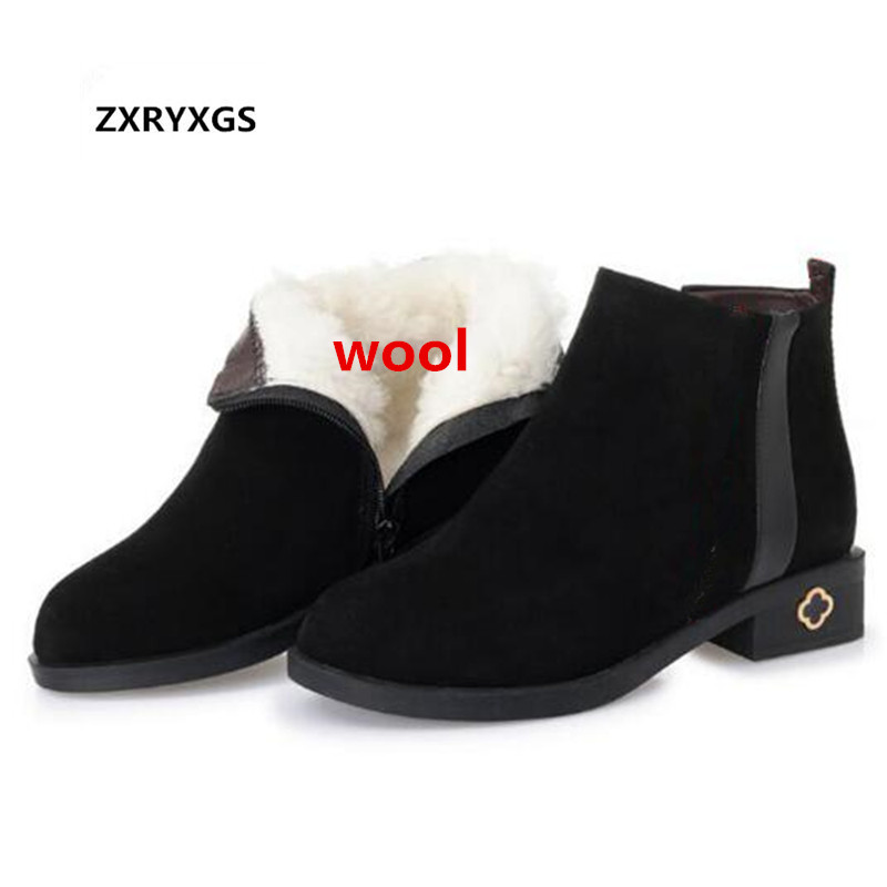 2018 New Winter Snow Boots Pointed Matte Cow Leather Boots Women Shoes Large Size Comfort Fur One Wool Ankle Boots Flat Shoes ремень jennyfer