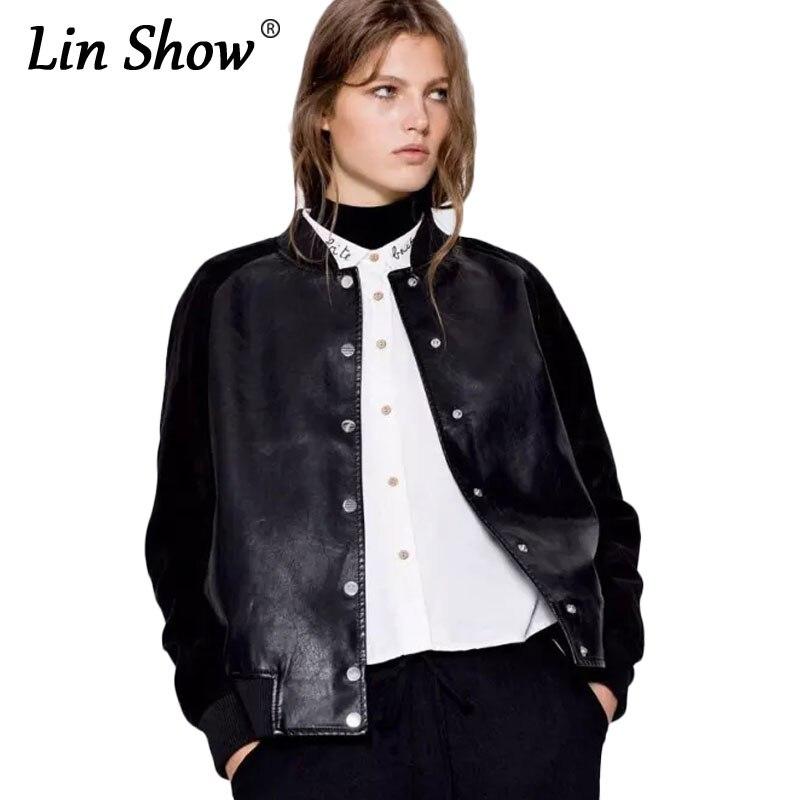 LINSHOW Fashion Faux Leather Patchwork Women Bomber Jackets Single Breaste Pockets Coats 2017 Autumn PU Warm Black Women Jackets