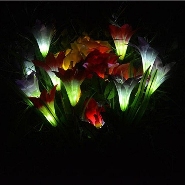4 Têtes Solaire Puissance Lily Fleur Led Jardin Solaire Lampe Cour ...