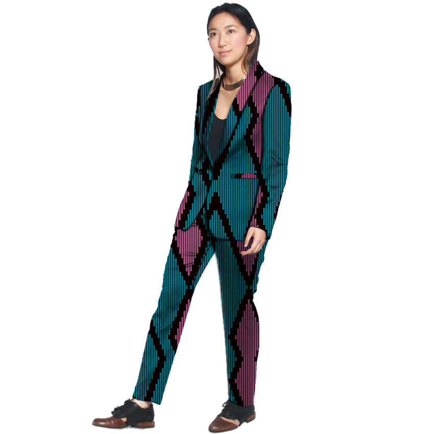 Women Shawl Collar blazers with trousers Ankara print pant suits custom made African wedding outfits female party clubwear