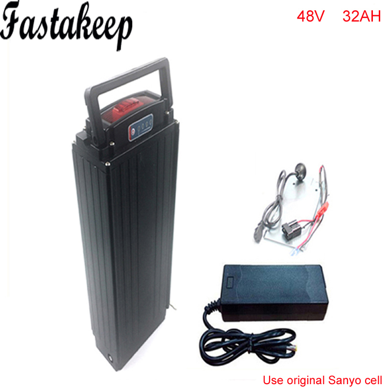 48v 1000w rear rack ebike battery 48V 32AH lithium battery pack with 30a BMS and charger + Power tail lights For Sanyo cell conhismotor atlas ebike 48v 11 6ah lithium ion down tube frame case battery pack for 10a 3c 18650 cell with bms and 2a charger