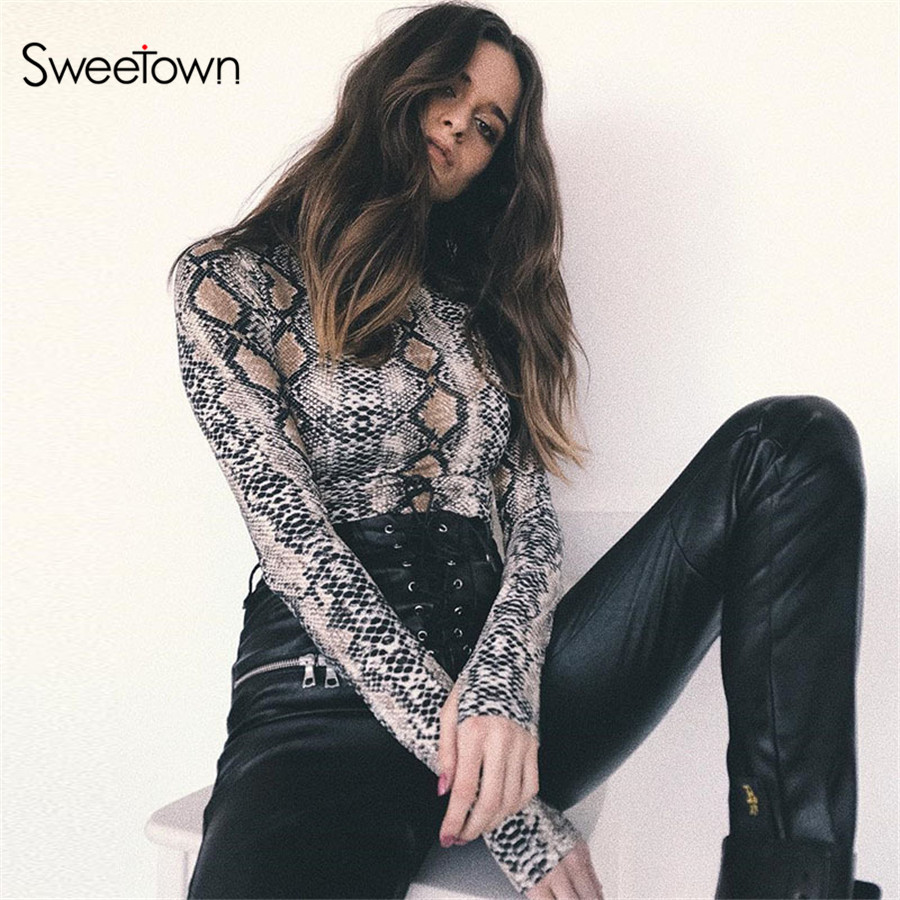 7356730c4182 Detail Feedback Questions about Sweetown Autumn Long Sleeve Sexy Bodysuit  Women Fashion Nova Woman Turtleneck Body Top Femme Snake Print Body Mujer  ...