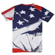 Американский праздничный Стиль 3D печатных короткий рукав спортивные футболки одежда для бега обтягивающие дышащие топы тренажерный зал плюс размер