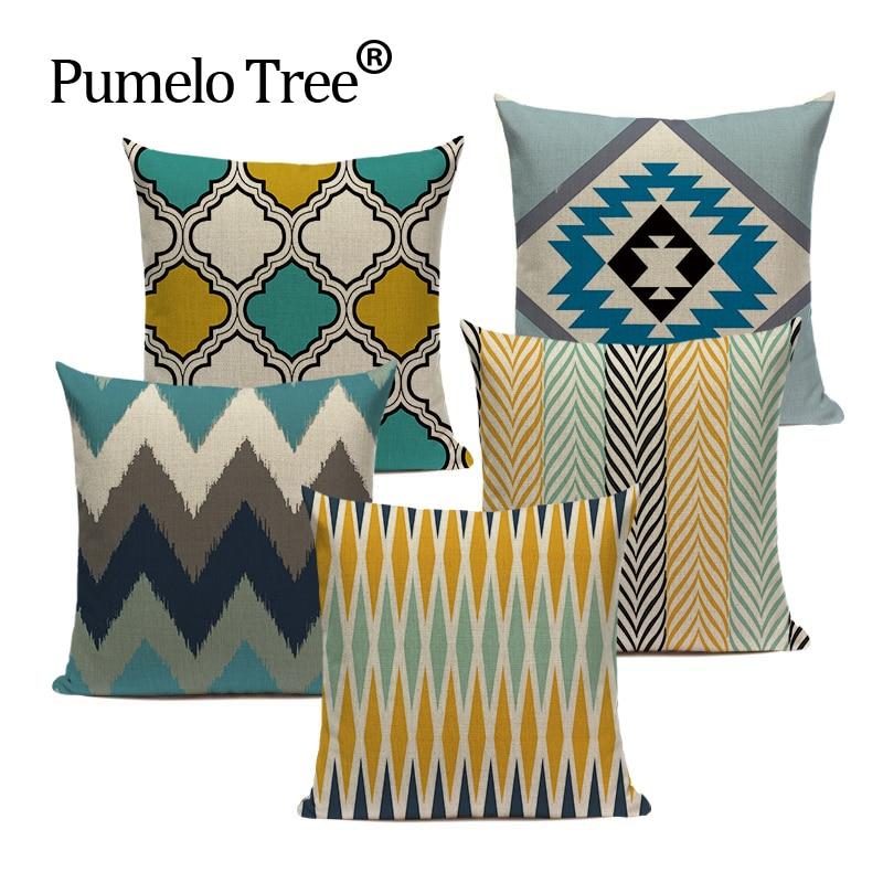High Quality Cushion Covers Custom Colorful Modern Geometric Fabric Art Car Pillows Square Seat Car Decor Printed Pillow Case