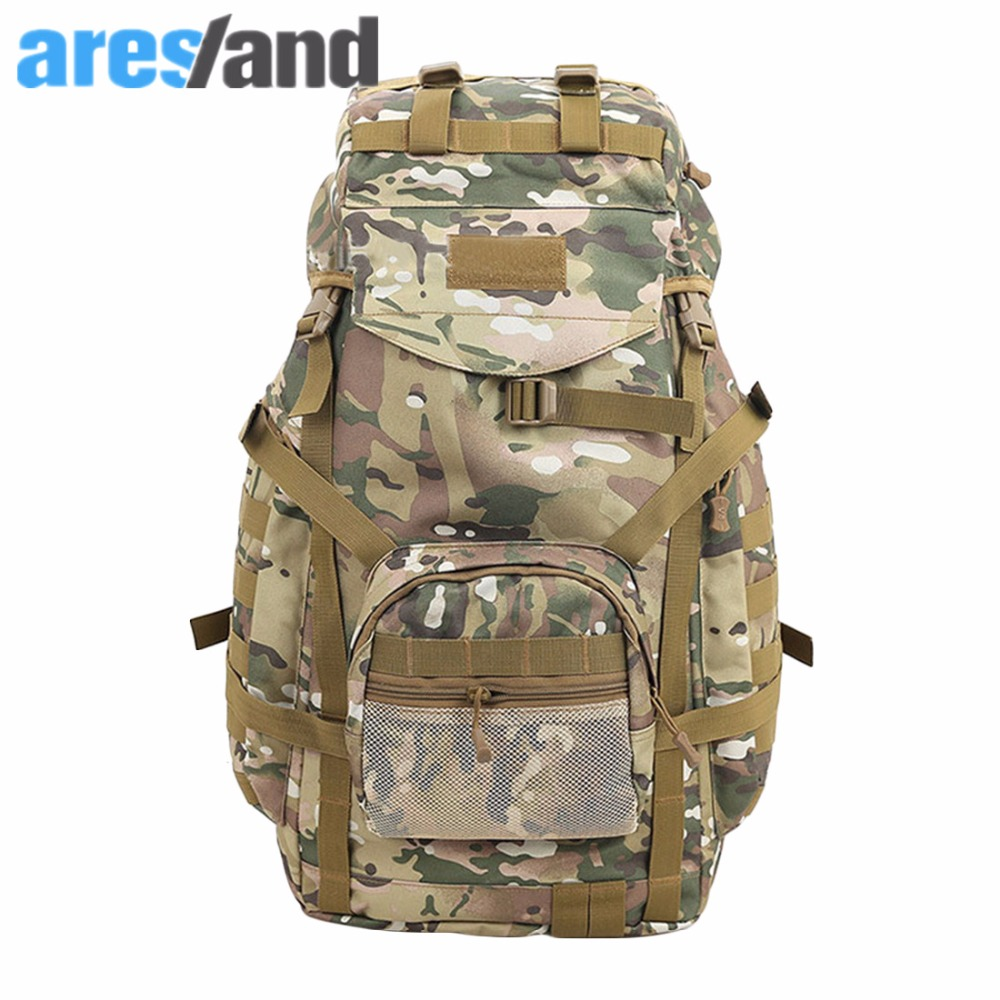 ФОТО Aresland 60L Military Large Capacity Backpack for Men Camouflage Rucksack Nylon Molle Travelling Bag Male